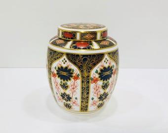 """Royal Crown Derby Old Imari Ginger Jar Bone China England 4.5"""" X 4"""""""