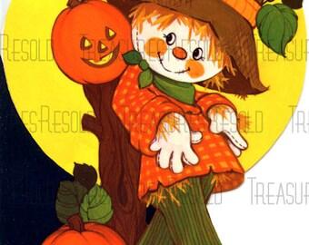 Retro Scarecrow Pumpkin Jack O Lantern Halloween Card #442 Digital Download