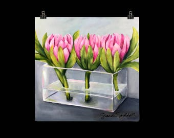 "Floral Art Print of Acrylic Painting, Pink Proteas in Vase, ""Pass Me Not"" by Artist Sharon Sudduth, 10x10 inch or 12x12 inch"