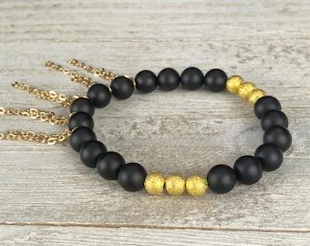 Black Onyx Gold Stardust Beaded Bracelet Gold Filled Chain