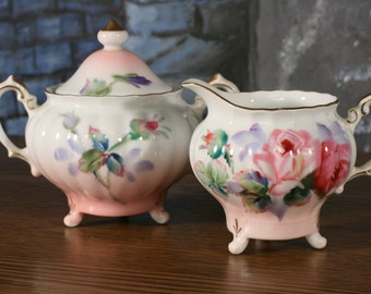 Roses Hand Painted Miniature Sugar Bowl  Creamer set Takiro Japan Shabby Chic Cottage Style