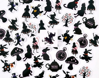 45 decals Alice in Wonderland - small stickers of Alice in wonderland