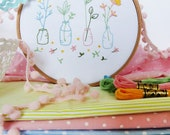 Spring flowers, Spring blossom, Flower embroidery kit, Christmas gift for kid, Godmother gift, Craft projects, Embroidery kit beginner