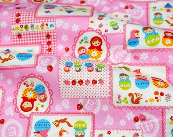Matryoshka Russian dolls print japanese fabric half meter 19.6 by 42 inches