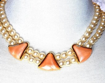 25% OFF SALE Napier Faux Pearl Necklace Vintage with Pink Triangular Pieces