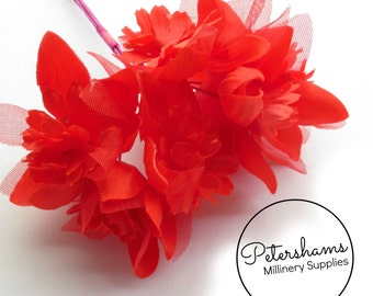 Vintage 1960's-80's Organza & Satin Millinery Flowers Bunch of 6 - Red