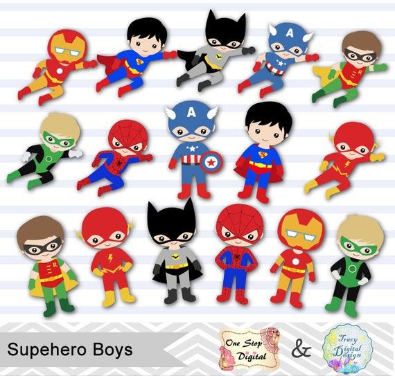 Superhero Art For Little Boys: 24 Little Boy Superheros Digital Clip Art Boys Superhero