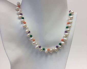 OOAK Freshwater Pearl Necklace with Semi Precious Beads