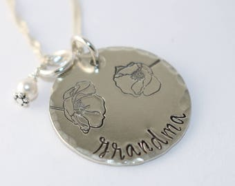 Grandma Necklace - Gift For Grandma - Poppy Flower Necklace - Grandmother Necklace - Custom Silver Necklace - Grandma Gift - Customized Gift