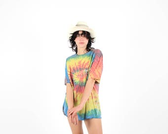 90s Slouchy + Faded Rainbow Tie Dye Unisex 90s Tee T Shirt Dress