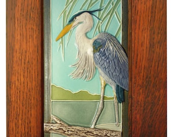 Framed ceramic sculpture, Great Blue Heron  4 x 8 inches (tile)