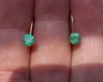 Genuine electric green emerald solid 14k yellow gold leverback earrings