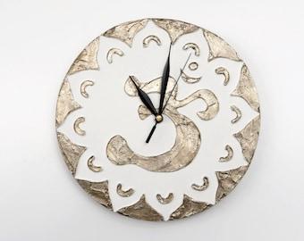 White wall clock White clock Modern WALL CLOCK gold and White wall clock Om decor spiritual ZEN home decor