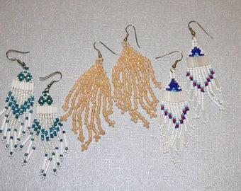 Trio of Vintage Handmade Beaded Chandelier Earrings Native American Southwest Boho