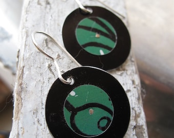 Tin Earrings- Emerald Green and Black Recycled Tin Discs-Olive Oil Can -Lightweight
