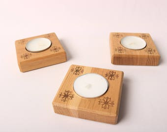 Wooden Tea Light Candle Holder Table Center Piece Rustic Decor Candle Holder Oak