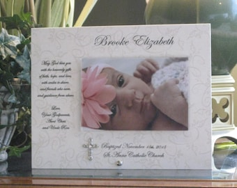 BAPTISM GIFT, Christening Gift, Baptism Frame, Christening Frame, 4 x 6 photo, Silver tone metal cross, Saying Choice