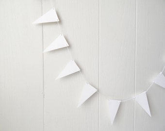 White Flag Garland / Party Bunting / Nursery Bunting / Party Decor / Photo Prop MADE TO ORDER