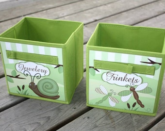 Set of 2 Green Dragonfly Bugs Garden Fabric Bins Girl's Bedroom Baby Nursery Organizer for Toys or Clothing 2FB015