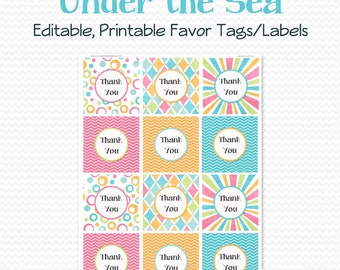 Thank You Tag, Favor Tag, Under the Sea Party Favor, Summer Birthday, Goodie Bag, Treat Bag Label - Editable, Printable, Instant Download