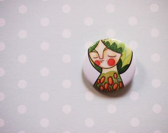 Green girl pin, spring portrait button brooch, pin button, button brooch, pin for backpack