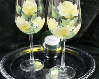 Hand Painted Wine Glasses - Yellow Roses (Set of 2)