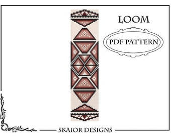 Loom Beading Pattern Native American Bracelet Tribal Geometric Seed Beads Aztec Ethnic Triangle Yellow Gold Red Instant Download