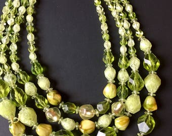 "Vintage Green Multi strand Necklace ""West Germany"""