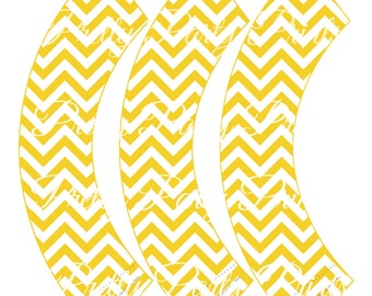 Yellow Chevron Cupcake Wrappers Birthday Party Printable Digital Instant Download