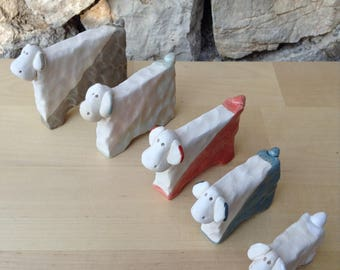 Sheep ceramic two-colored in different sizes
