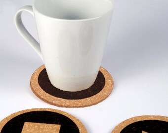 Set of 4 coasters of play, stop, pause and power to play with time.