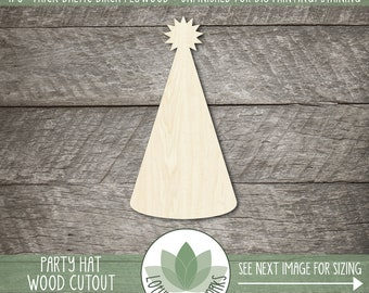 Wood Birthday Party Hat Shape, Blank Wood Shapes, Wooden Party Hat Cutout, Unfished Shapes For DIY Projects, Birthday Party Decor