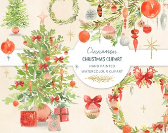 Holiday Season Clipart - Cinnamon. Christmas hand painted watercolor graphics containing Christmas trees, wreaths and branches.