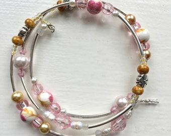 Beautiful Spring Themed Beaded Wrap Bracelet