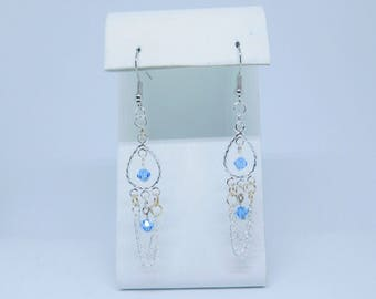 Sapphire and chain earrings. Swarovski crystals. Blue earrings.