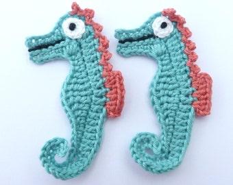Crochet appliques, handmade, 2 crochet seahorses. Nursery decor, scrapbooking, cardmaking, appliques, sew on patches embellishments.