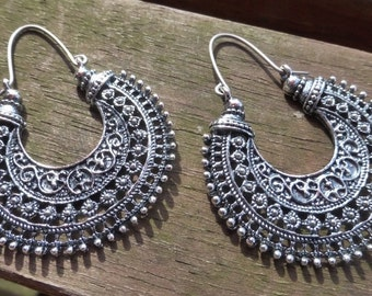 Antique Silver Tribal Earrings With Handmade Hypoallergenic Titanium Ear Wires - Gypsy - Ethnic - Hippy - Boho - Tribal Statement Earrings