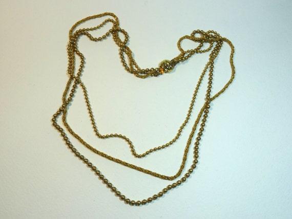 SJC10284 - Vintage gold color multi chain necklace