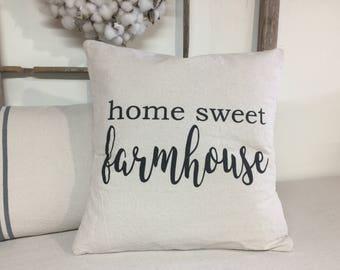 Farmhouse pillow cover, Home sweet farmhouse, fixer upper style pillow, farmhouse pillow cover, throw pillow, farmhouse decor, Farm House