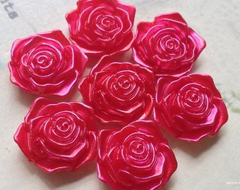 17 mm Shiny Red Acrylic Rose Cabochons(.tm)