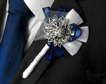 Silberfarbene Knopfloch, Hochzeit Knopfloch, Ansteckblume, Herren Hochzeitboutonniere, Anstecknadel, Herren-Anstecknadel, Revers Pin, Prom Revers, Bräutigam