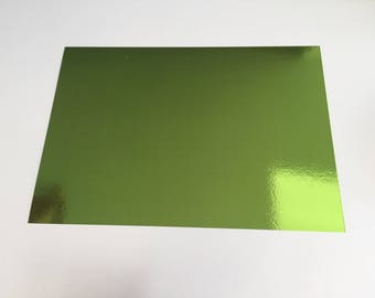 A4 cardstock holographic effect mirror - plain without patterns - color bright - green