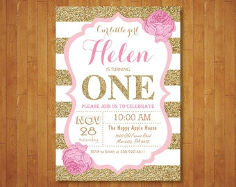 Pink and Gold First Birthday Invitation. Girl Birthday Party. Gold Glitter. Pink Gold White Black Stripes. Floral Flowers. Printable Digital