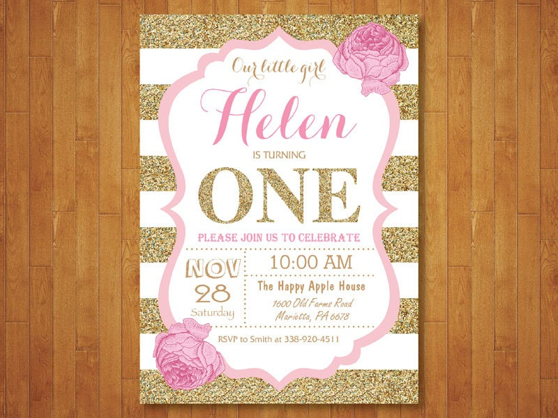 Pink and gold first birthday invitation girl birthday party zoom filmwisefo