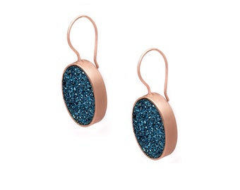 Druzy Drop Earrings - Royal Blue Druzy in Rose Gold Earrings - Large Druzy Earrings - Oval Druzy - Dangle Earrings