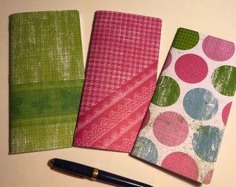 "Set of 3 Weeks Traveler's Notebook Inserts ""Polka Dots"""