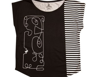 Black White Stripes Graphic Tee