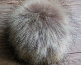 12cm Faux Raccoon Fur Pom Pom Knit Hat Pompoms with snap button