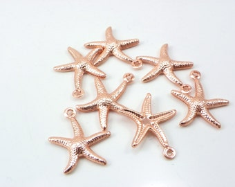 10pcs Rose gold STARFISH Charm Pendants, Rose gold Stars - Ocean Beach Nautical Charm, Starfish charms, finding craft rose Plated 18x15mm