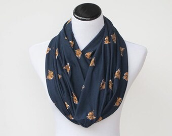 Fox scarf, navy blue scarf Fox infinity scarf loop scarf cute soft jersey knit foxy scarf circle scarf gift for girl, gift for mom